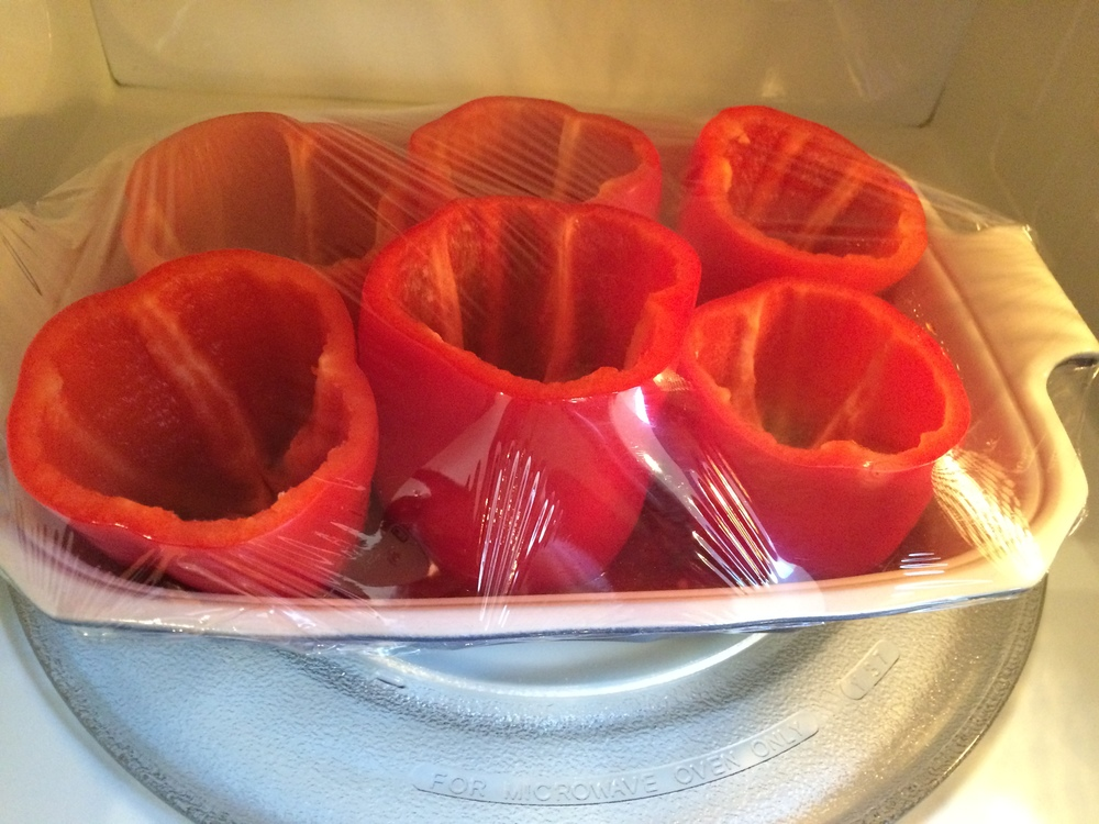 Cover and microwave peppers for about 6-7 minutes to soften.
