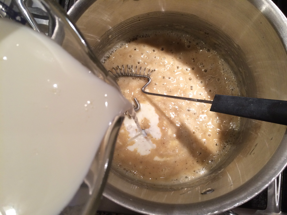 Stir in milk.
