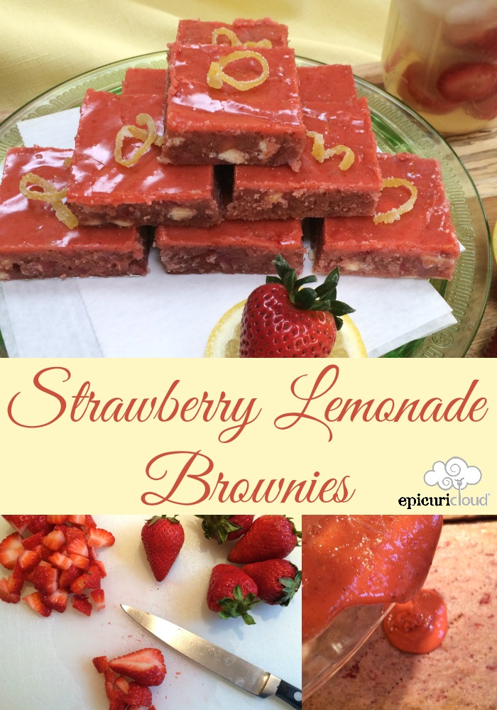 strawberry lemonade brownies - epicuricloud