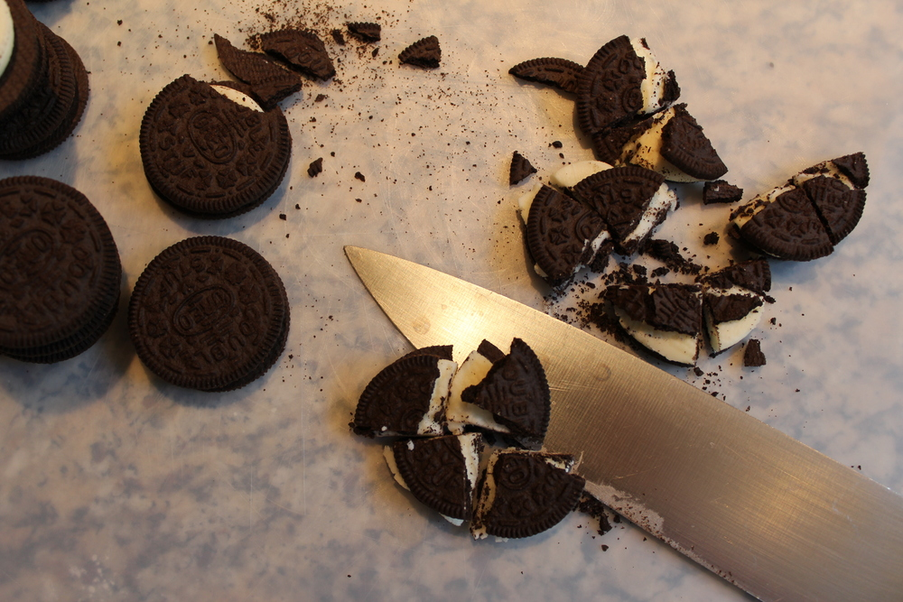 Cut Oreos into fourths