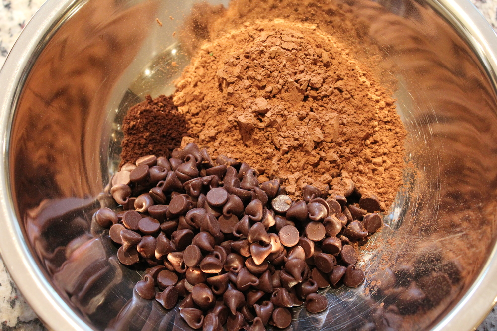 Combine cocoa, chocolate chips and a smidgen of espresso powder