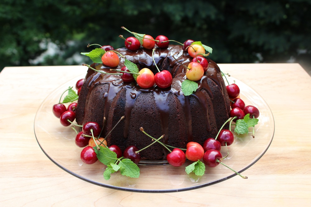 Chocolate Buttermilk Bundt Cake w/cherries @epicuricloud.com