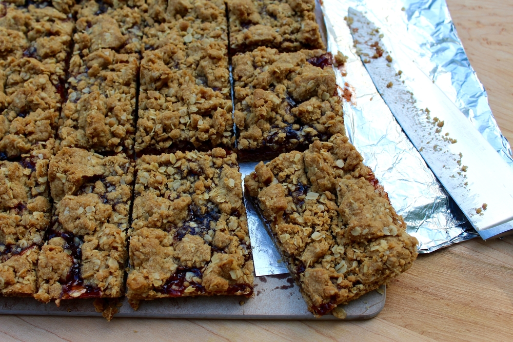 Cut into bars (a little more evenly than I did, oops!)