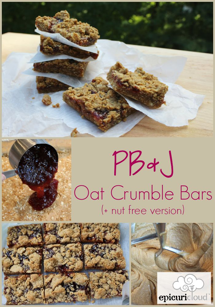 PB and J Oat Crumble Bars Collage - epicuricloud