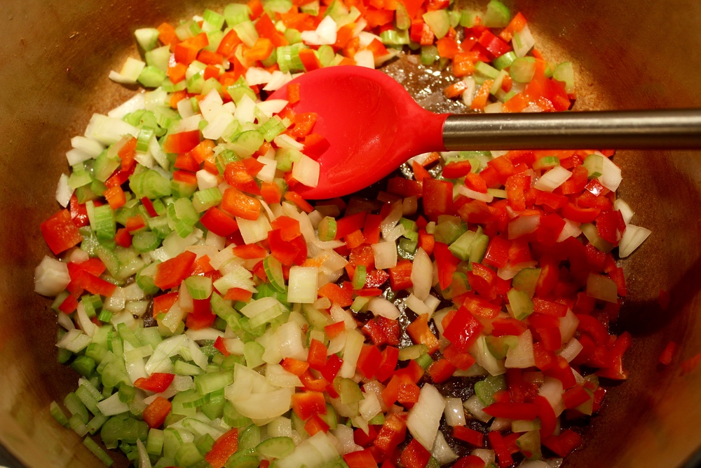 Saute the celery, onion and red pepper.