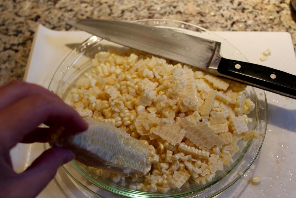 Cut the corn off the cobs.