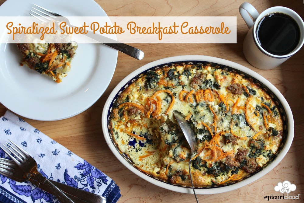 Spiralized Sweet Potato Breakfast Casserole - epicuricloud