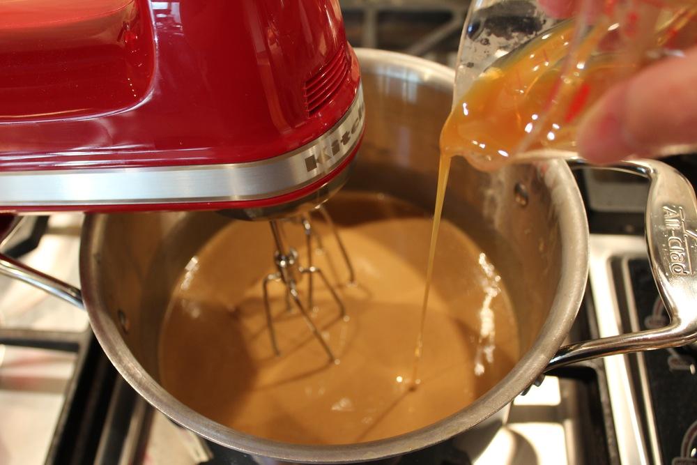 Pour in caramel sauce
