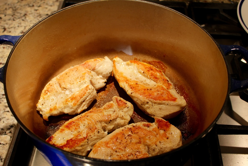 Cook Chicken Breasts, remove from pan and allow to cool.
