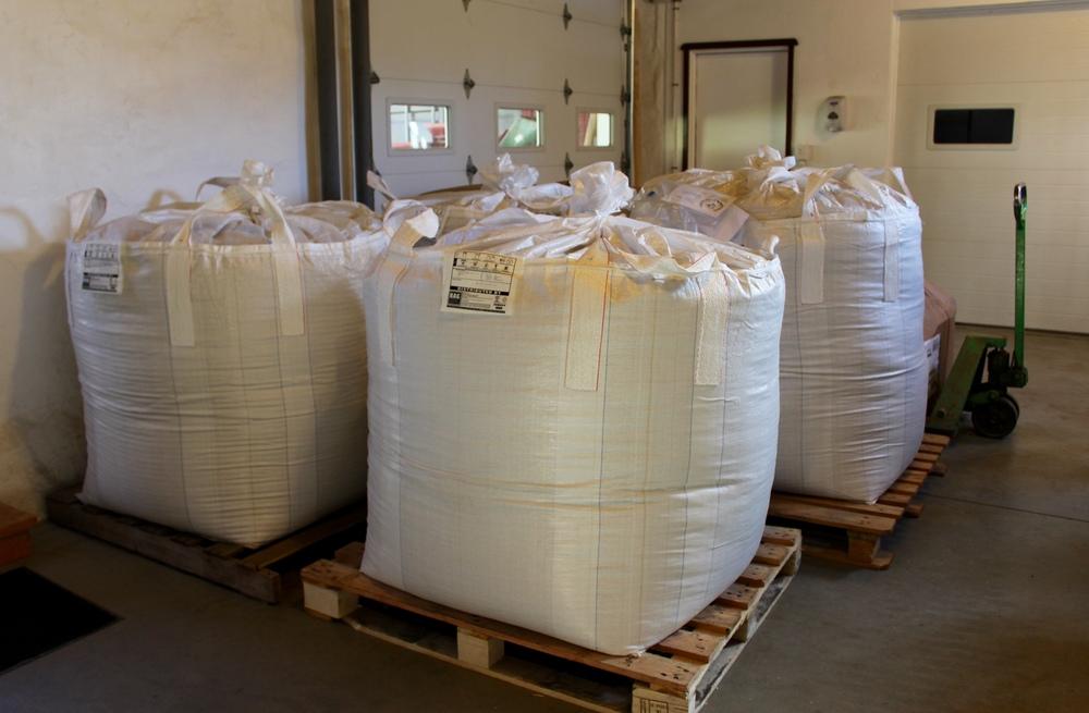 ...into 1,000 pound super sacks or...