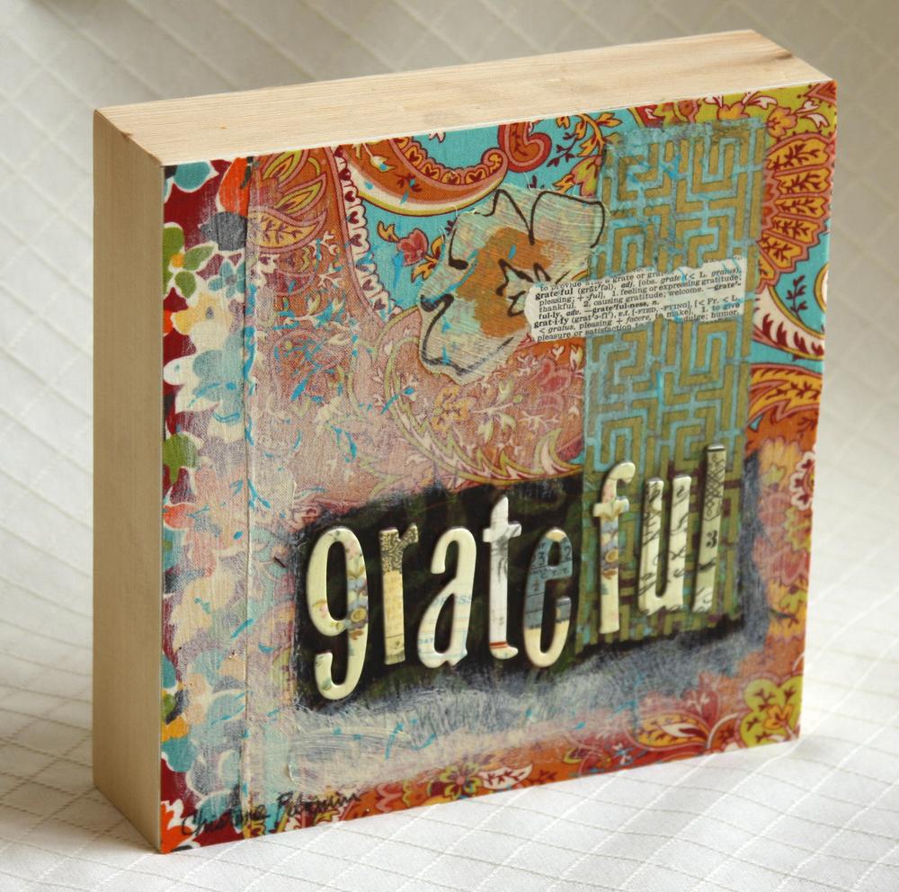 "Grateful, 8"" x 8"" x 2"""