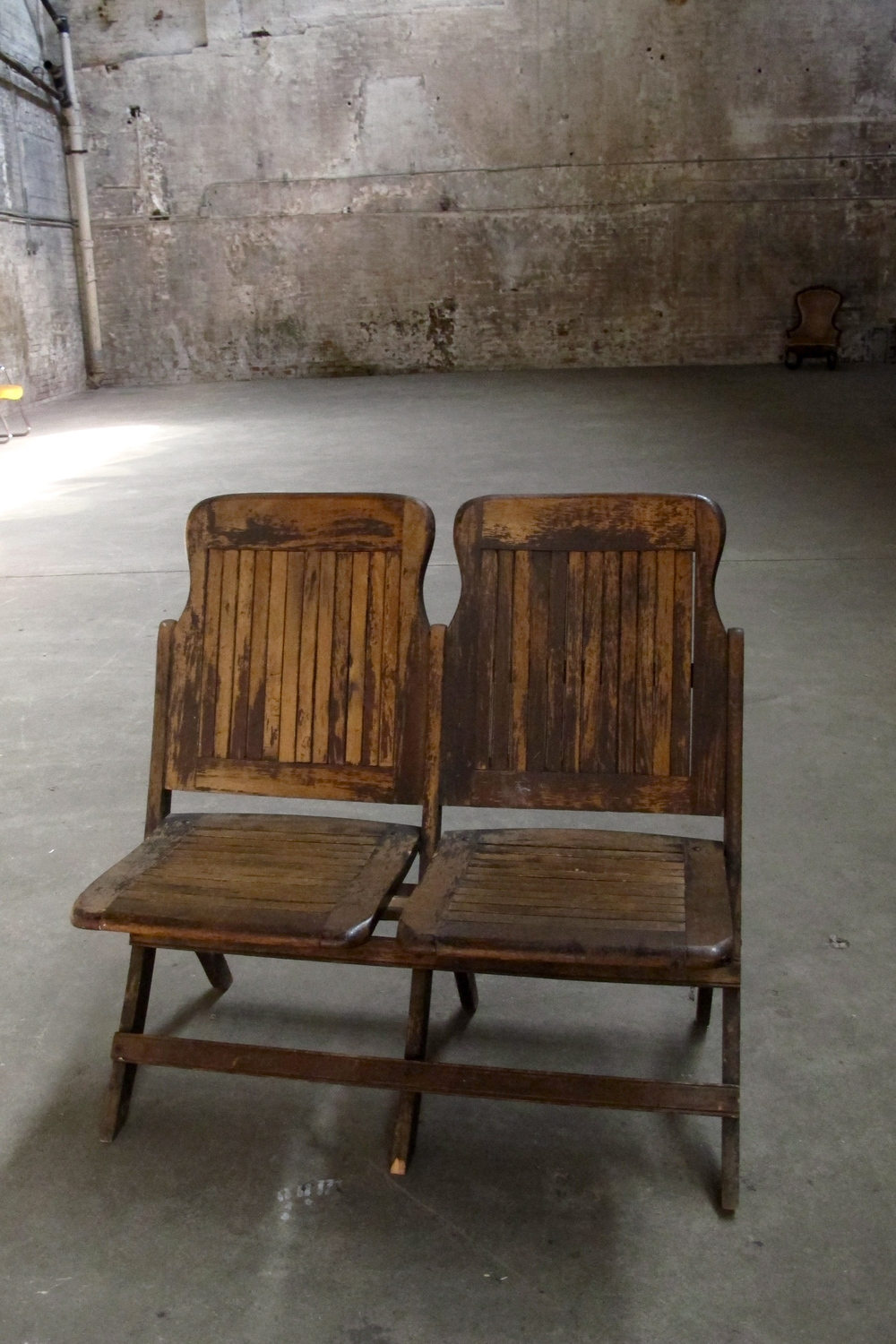 Wood twin theatre seating (folding) $125 - Wood Seating — Primate Props