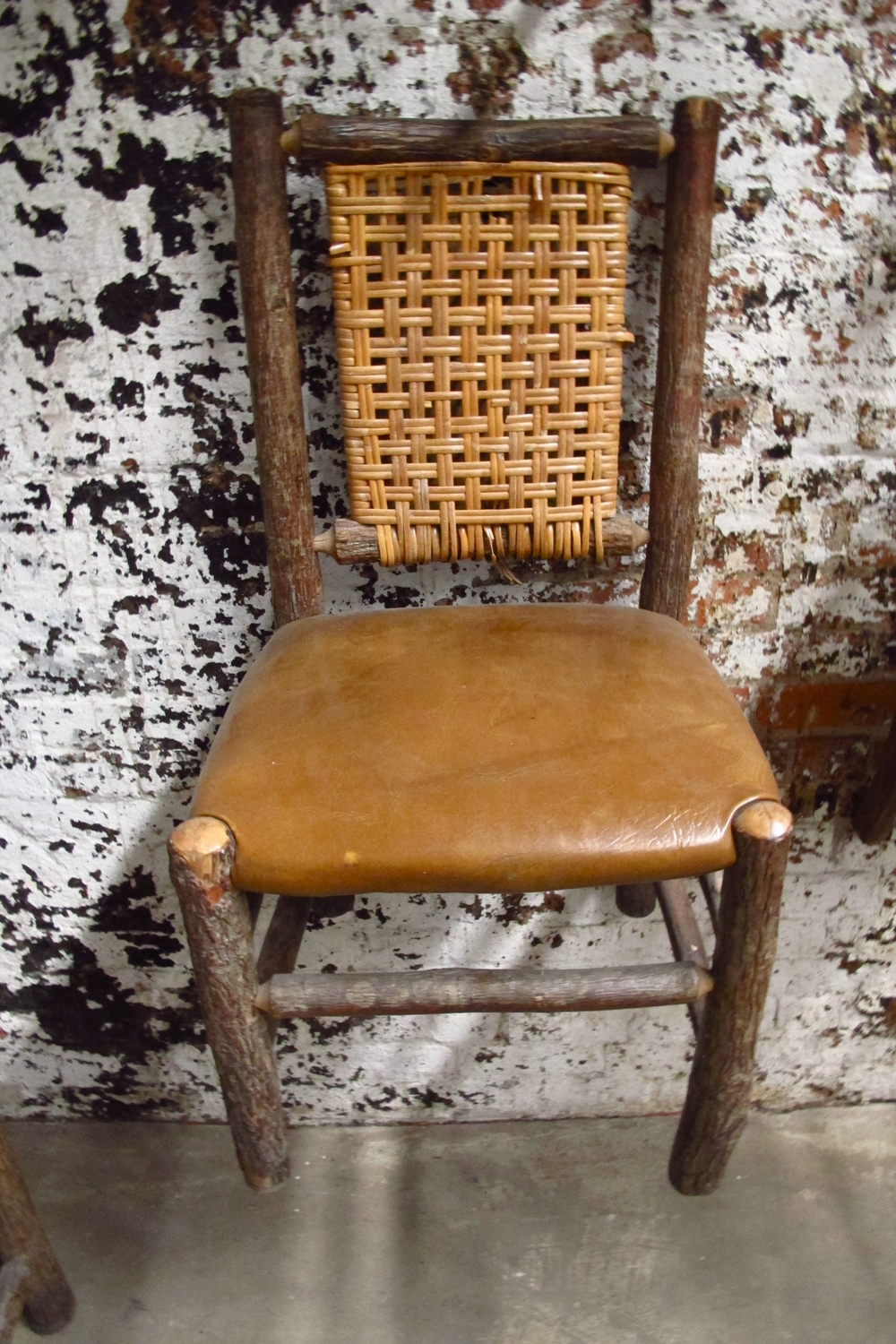 'Hansel' Leather Seat / Thatched Back Chair $30  ('Hansel & Gretel' pair)