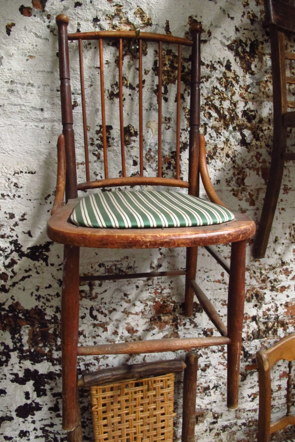 Green Stripe Petite Wood Dining Chair $40