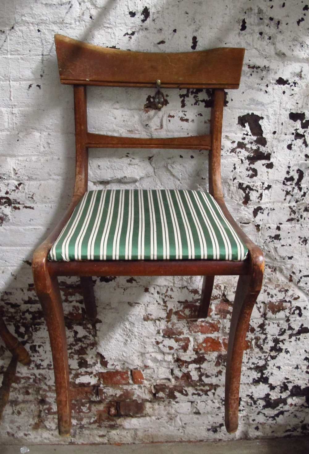 Green Stripe Square-Back Wood Dining Chair $50