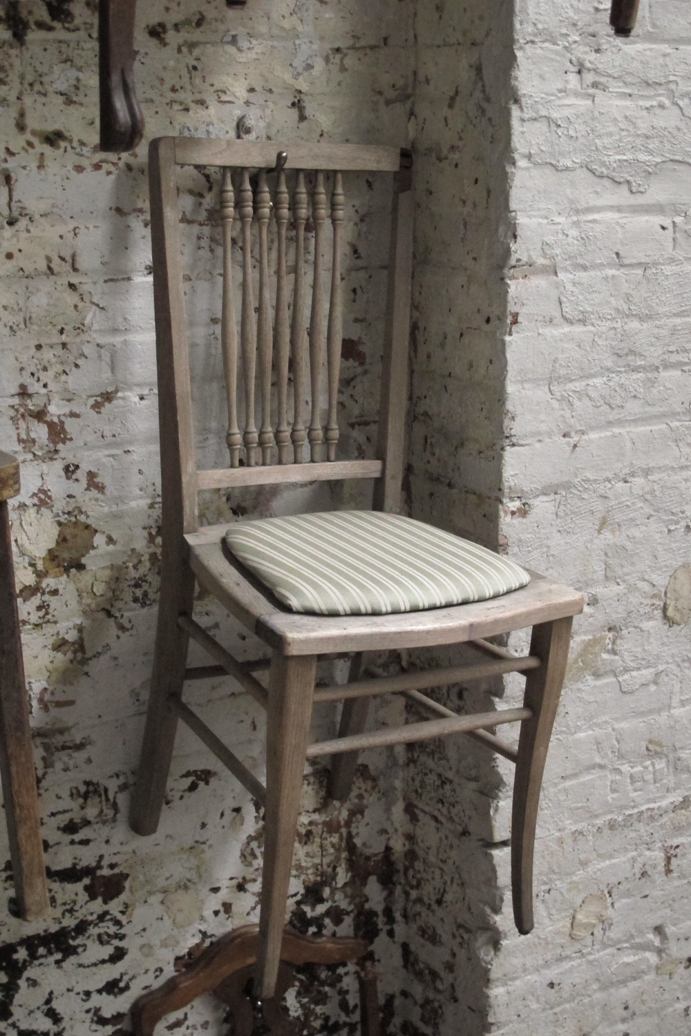 'Faded Grey' Green-Stripe Antique Wood Chair $30