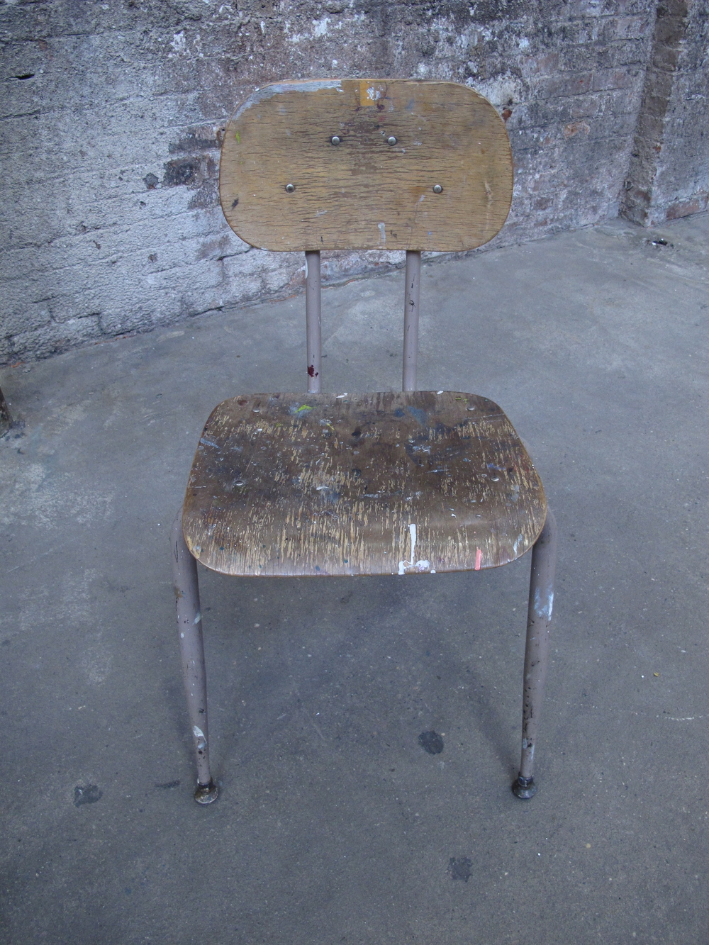 Wood Paint-Splattered School Chair $40