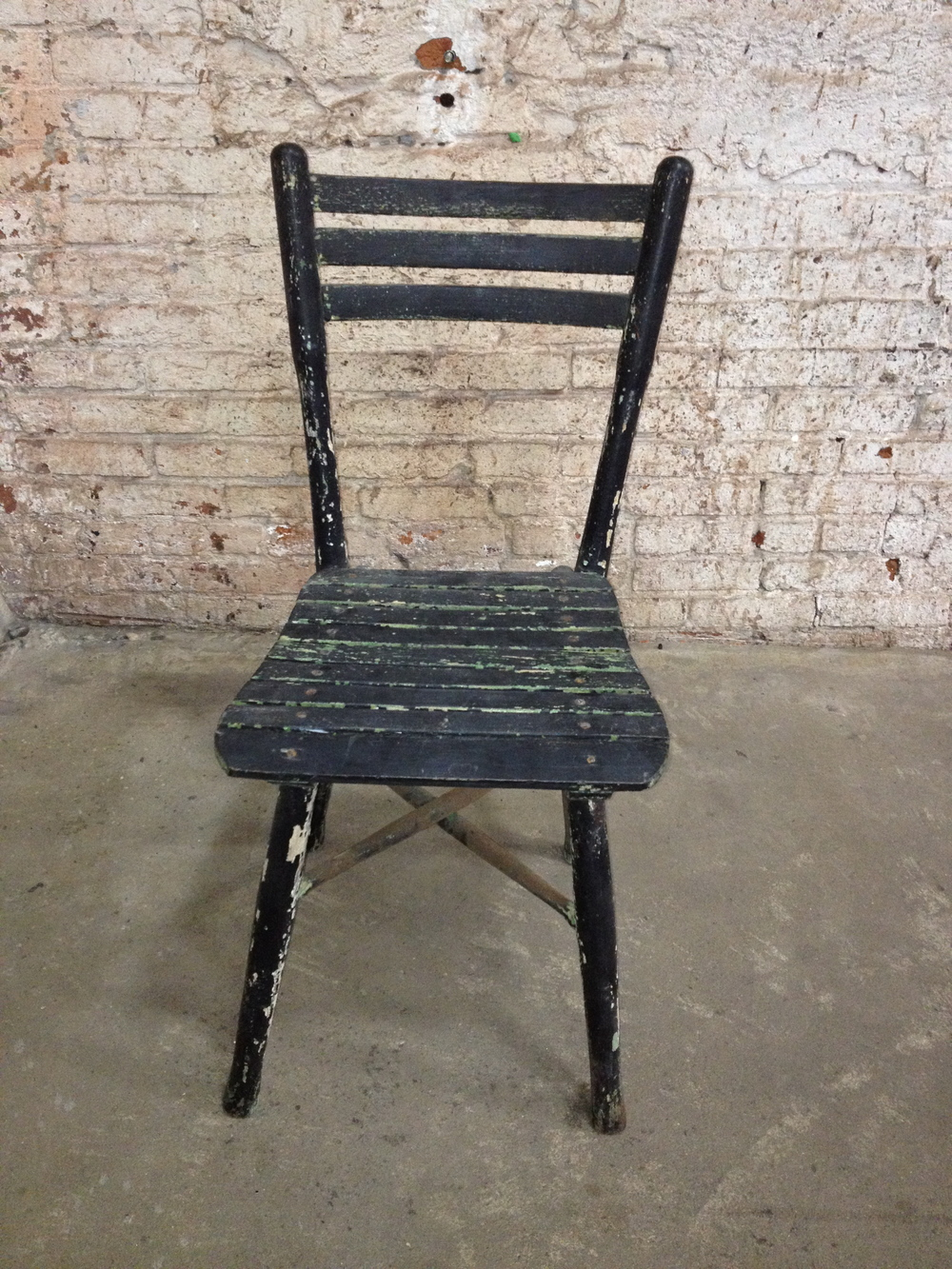 Antique Black And Green Wood Slat Chair