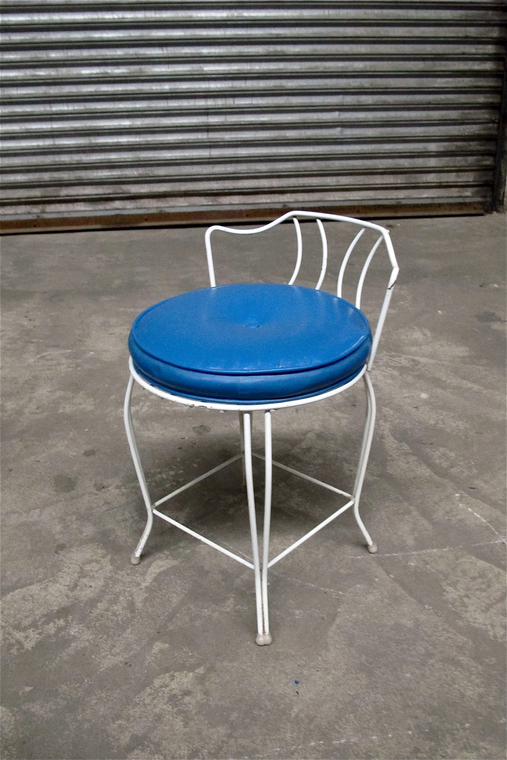 Blue Short White Parlor Chair $35