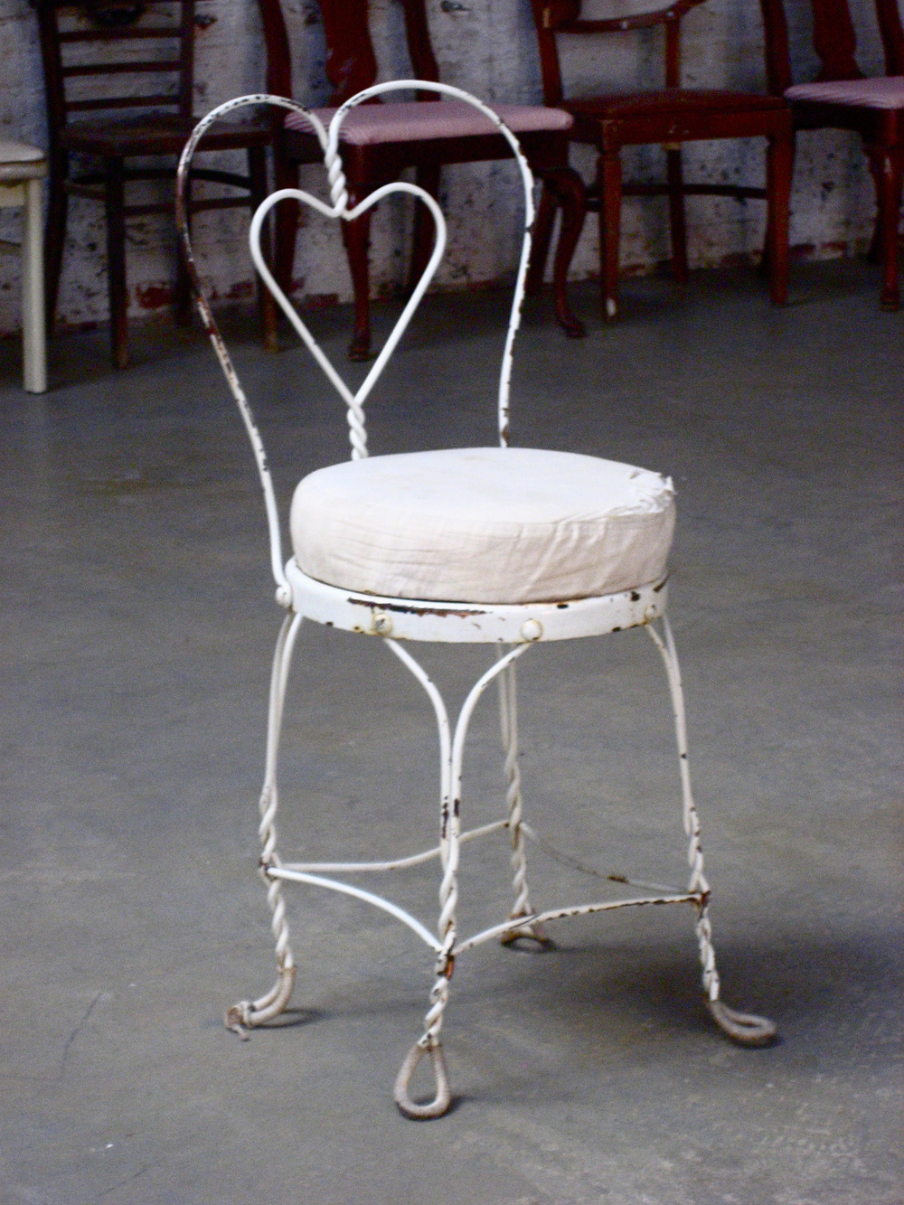 White Iron Heart Parlor Chair $30