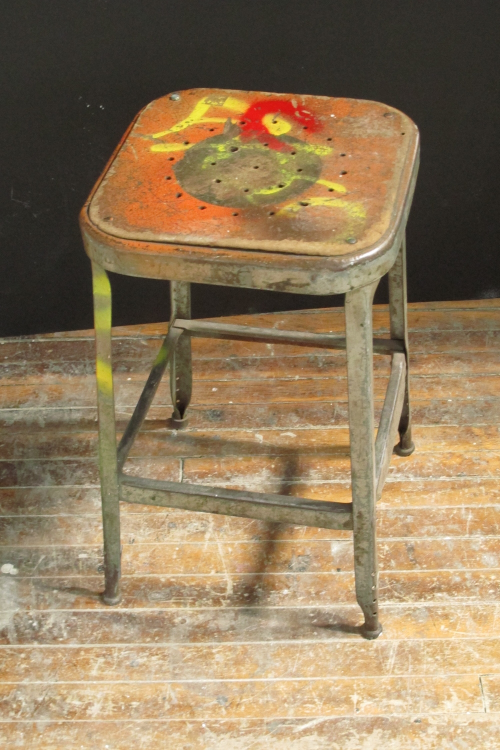 Metal Square 'paint-splattered' artist stool $30