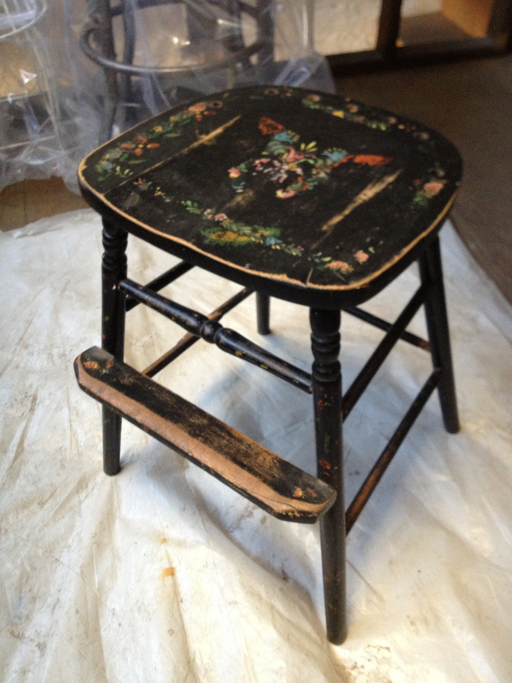 Black Short Wood Stool With Flower Decal