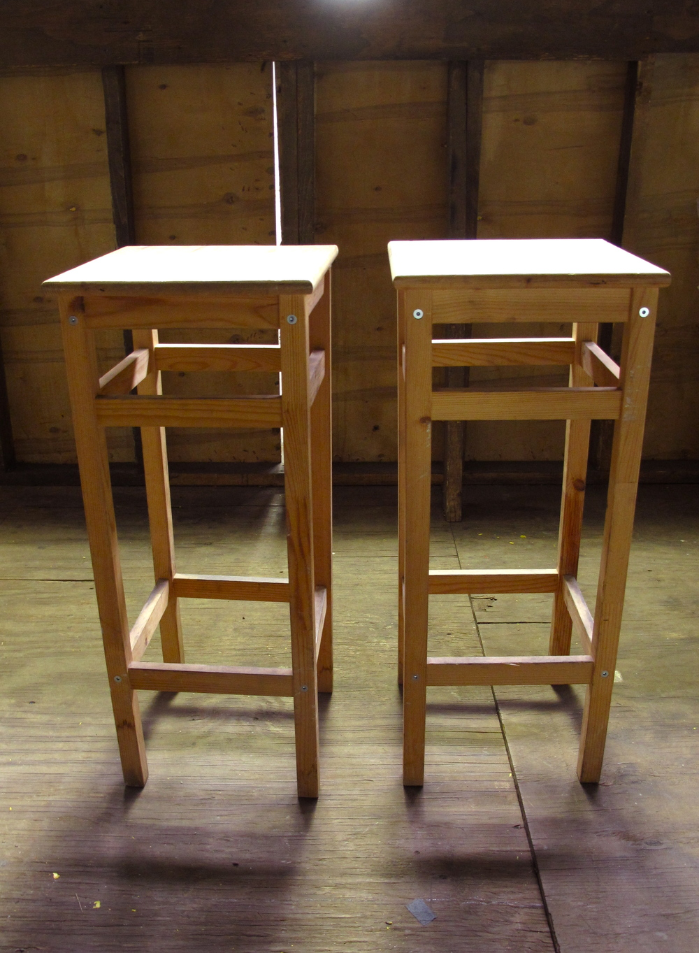 win Square Natural Wood Stools (2) $30/ea