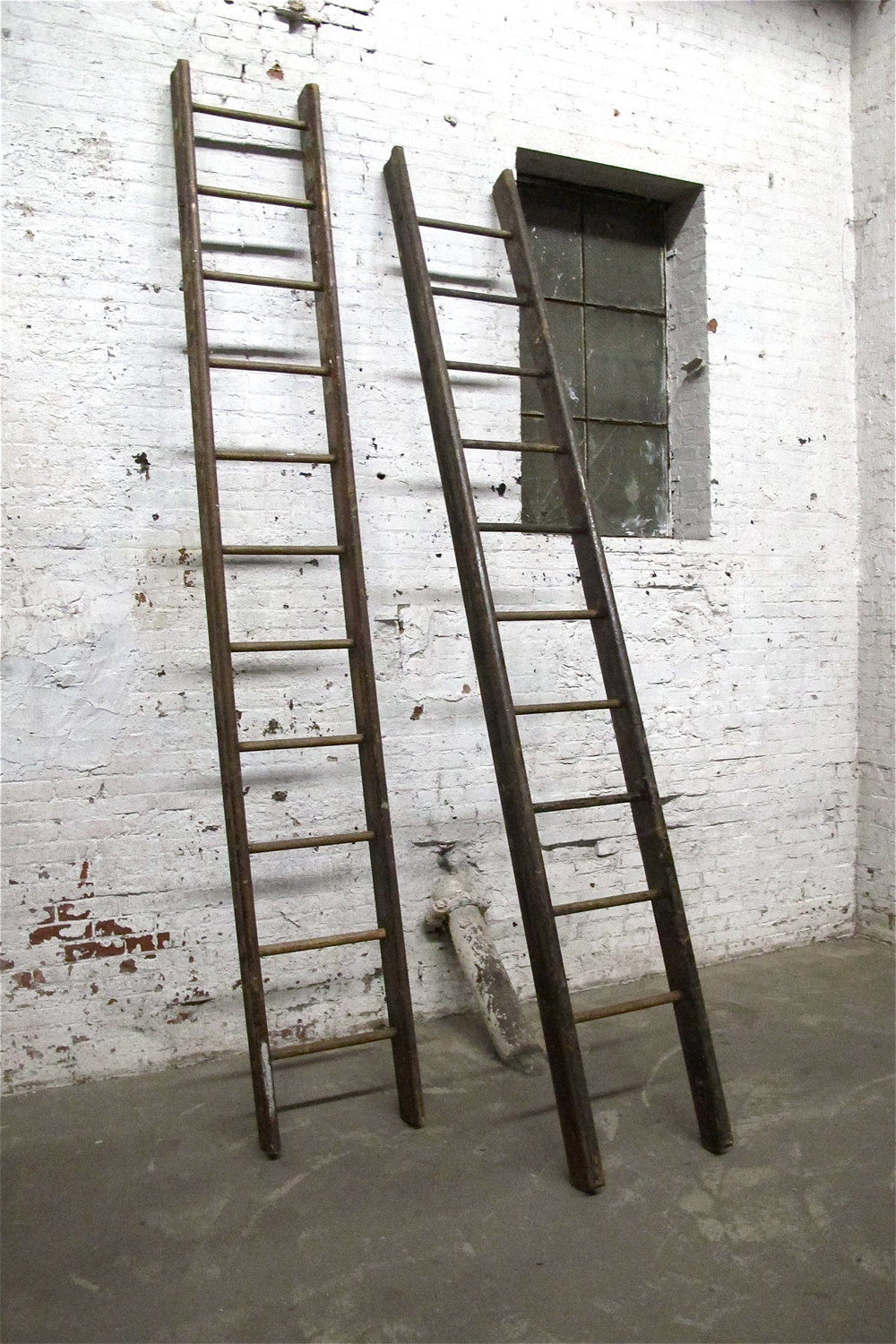 "Twin Large Wood ""LIbrary Ladders"" (2)"