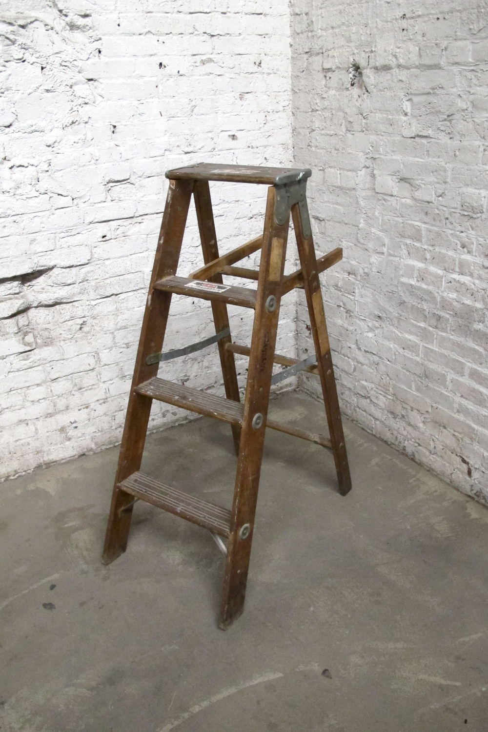 Dark Brown 3-Step Ladder (paint splattered)