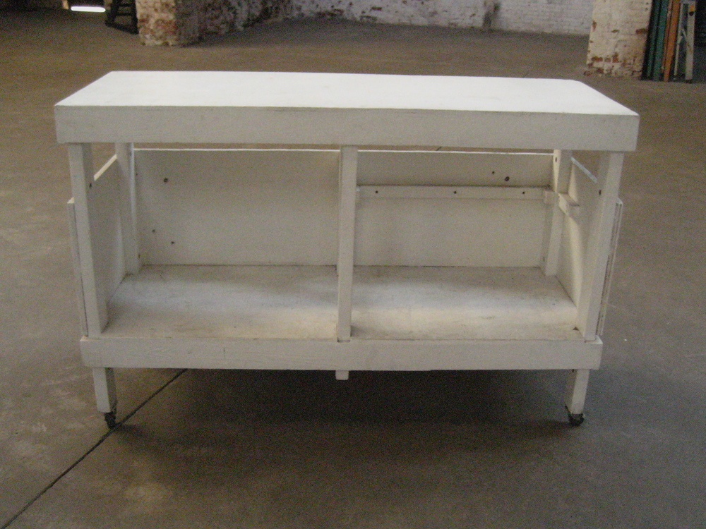 White Wood Production table on wheels