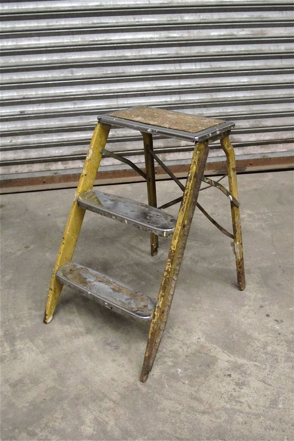 Vintage Short Yellow Metal 3-Step Ladder $40