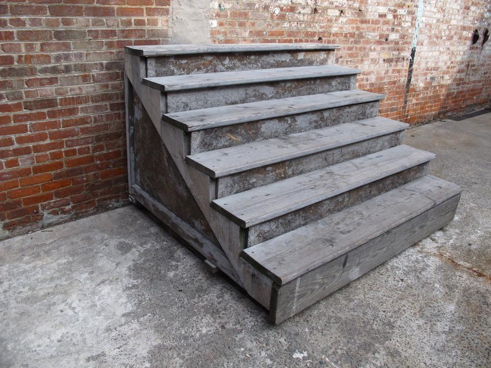 """Grey Large Wood 6-step """"Stoop Stairs"""""""