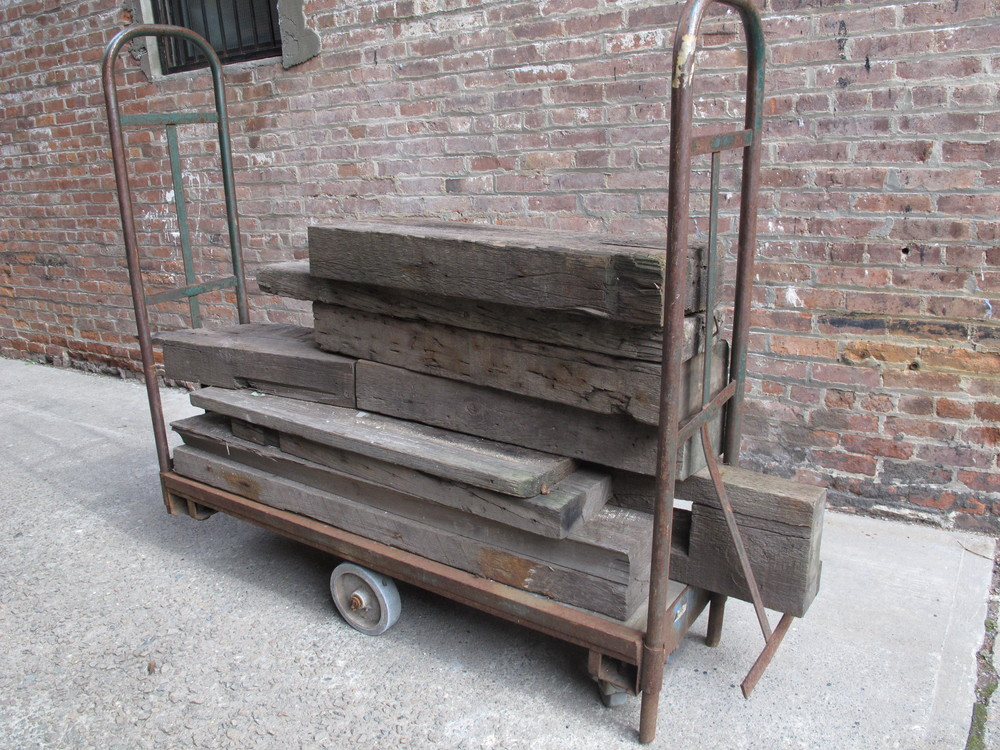 Large Metal Antique Cart with/without Scrap Wood pile