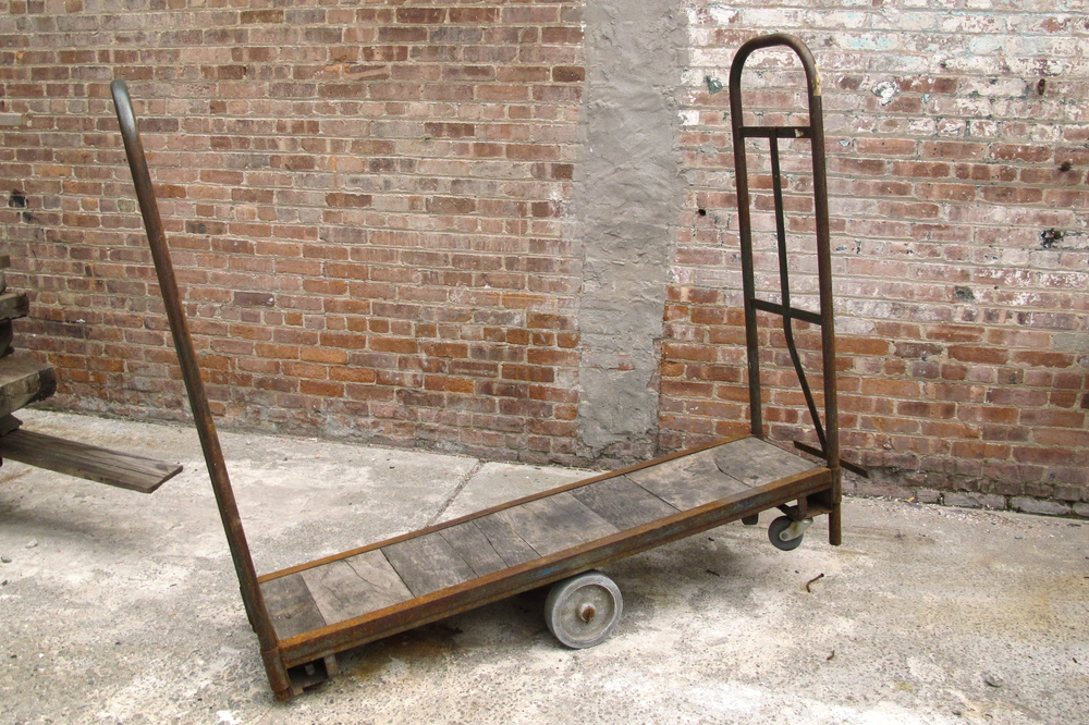 "Large wooden & metal ""teeter-totter"" rolling cart"