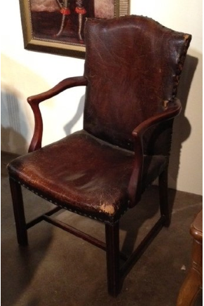 Aged Leather Arm Chair $225