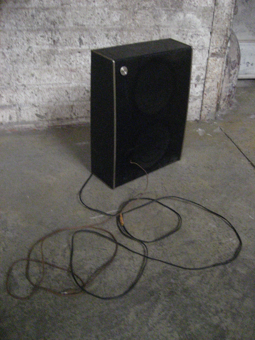 Slender Black Speaker with Wire $15