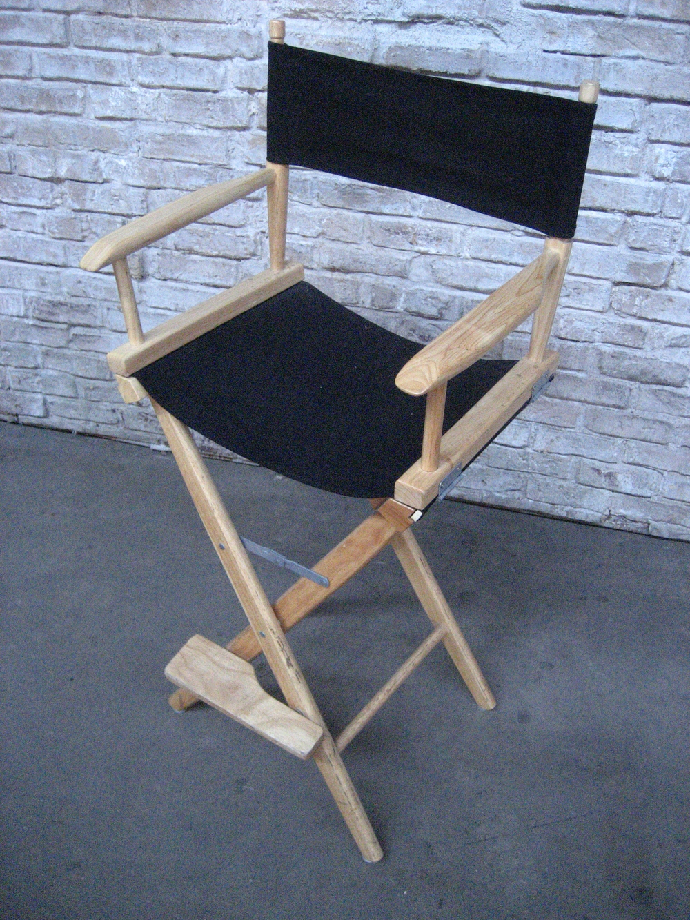 Directors Chair Black and Light Wood $40