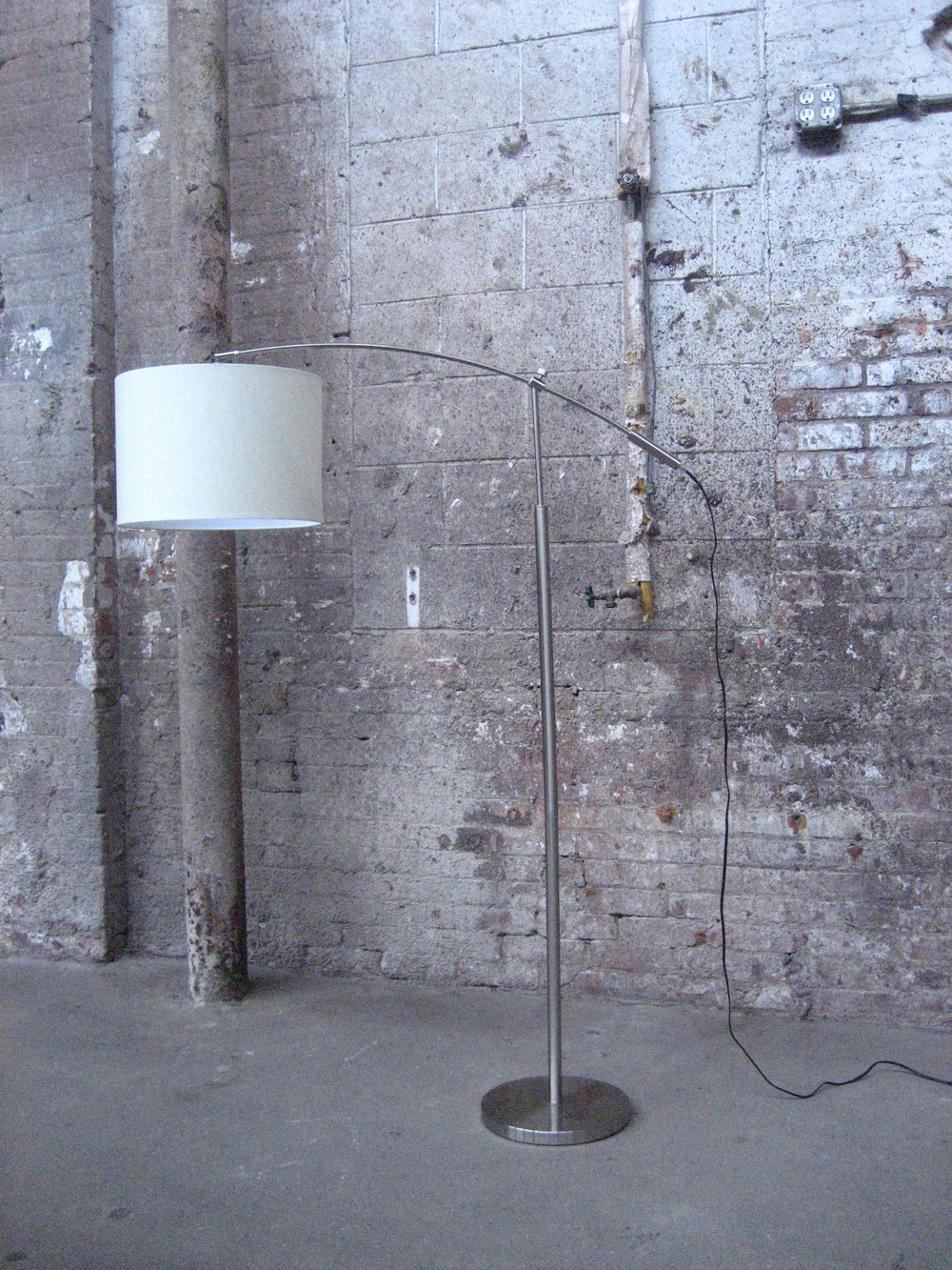 Grey Standing Arch Lamp w/Shade