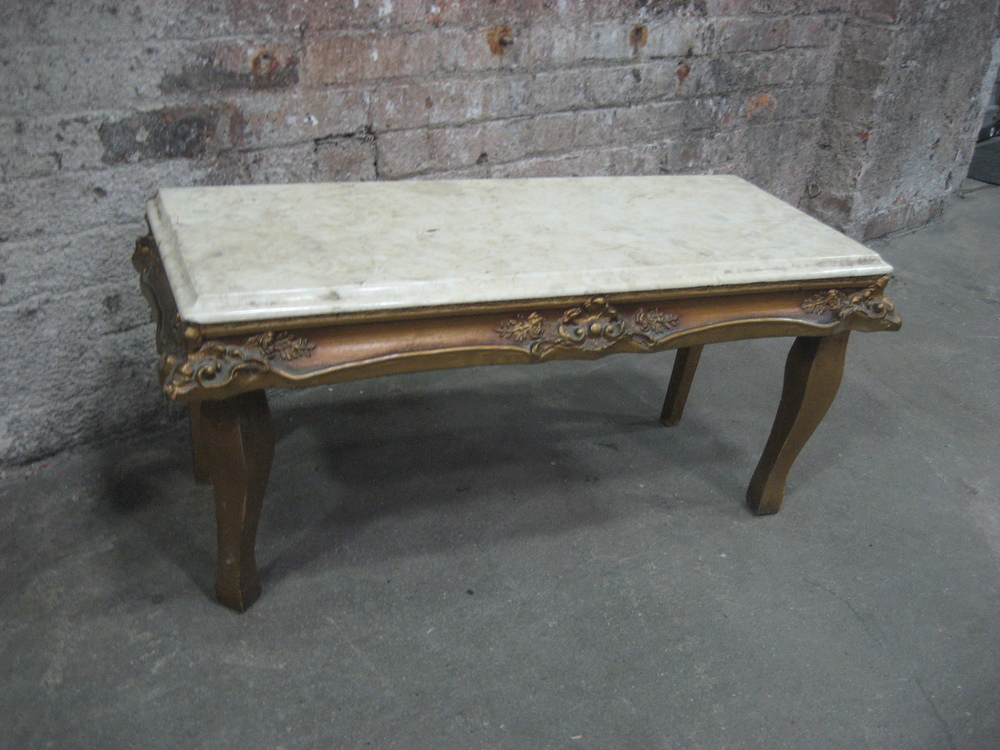 Ornate Marble Side Table with Gold Legs