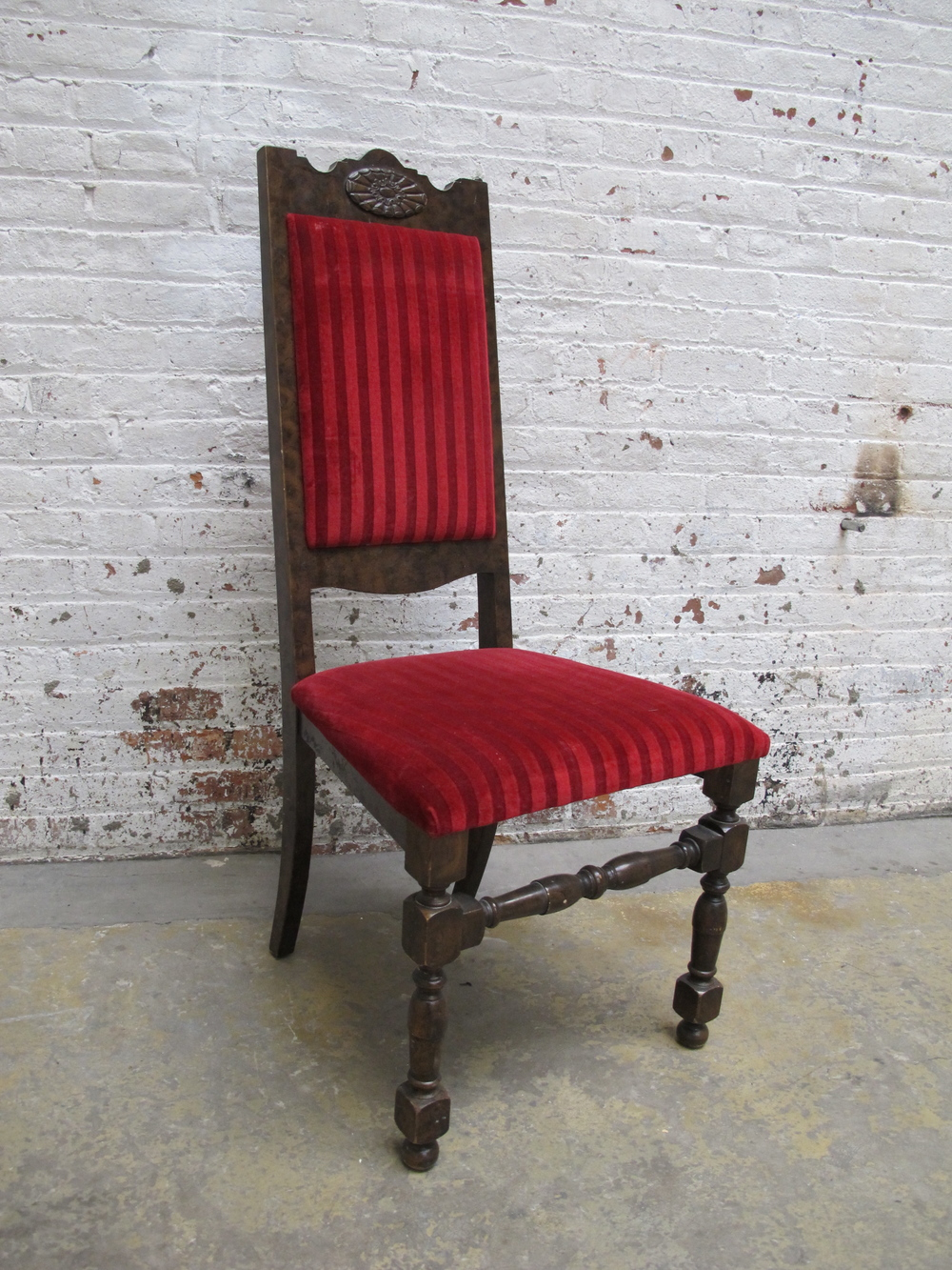 Red Velvet Stripe Cushion Wood Chair