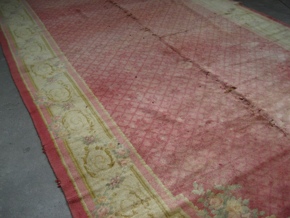Detail:   Huge Dark Pink and Beige Rug $500