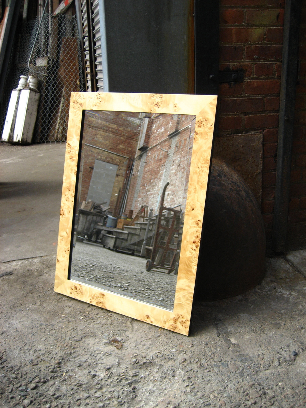 Light Burlwood Veneer Framed Mirror $70