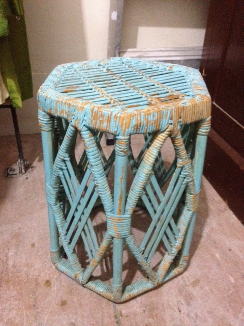 Colored Wicker Stool $35