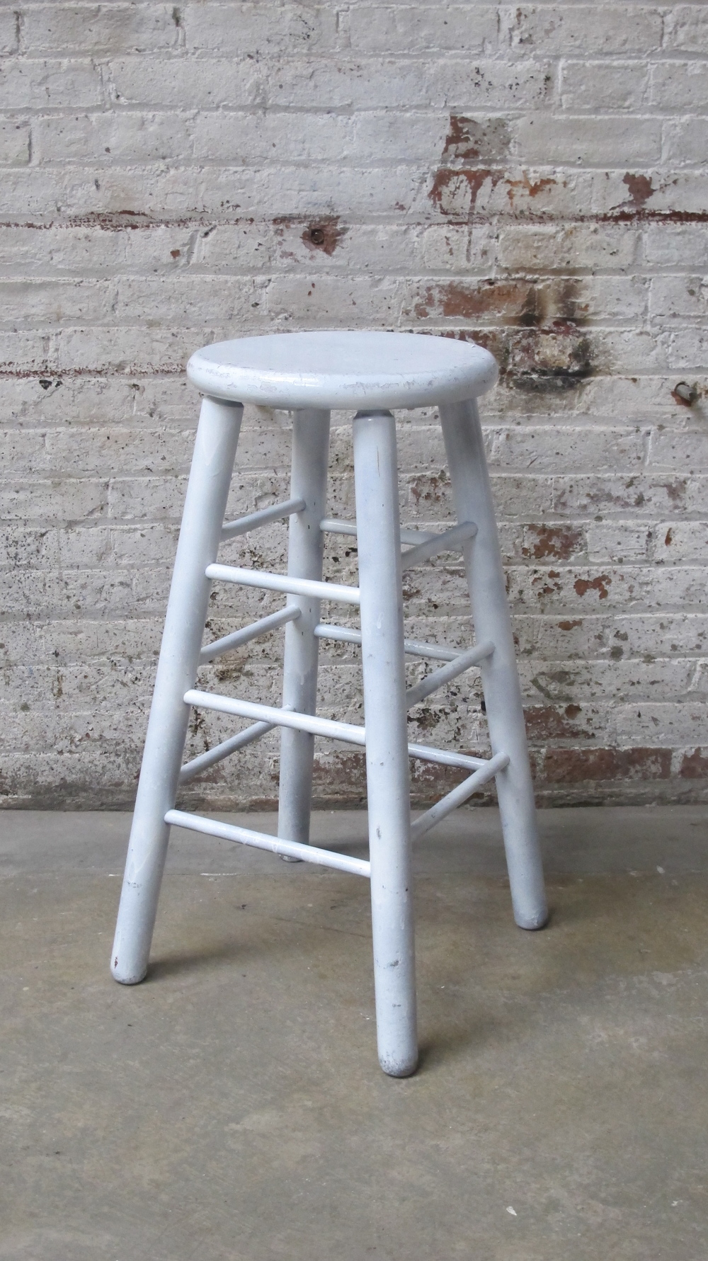 scuffed white stool $40