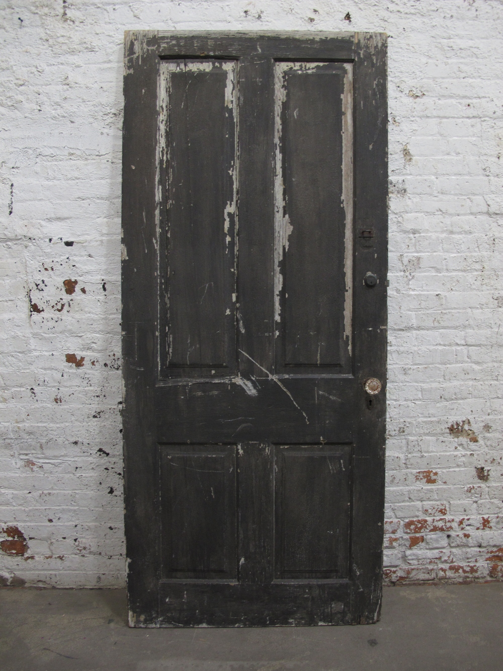 Distressed Black Wood Door