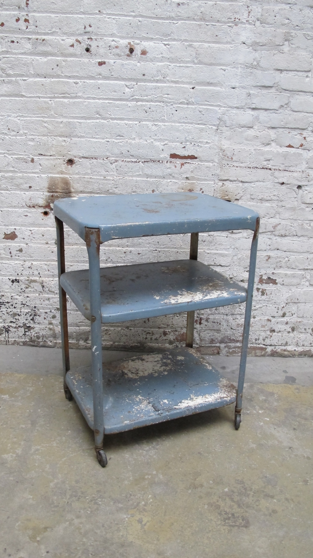 Blue 3-Tier Rolling Cart $45