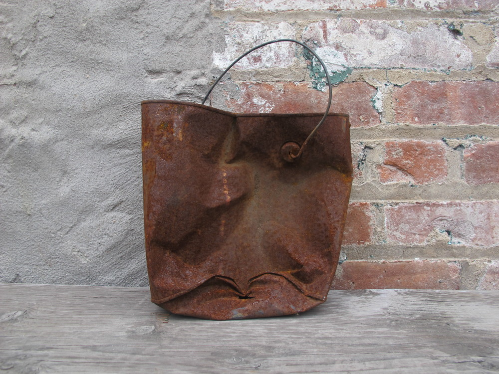 Small Rusted Crushed Bucket $5