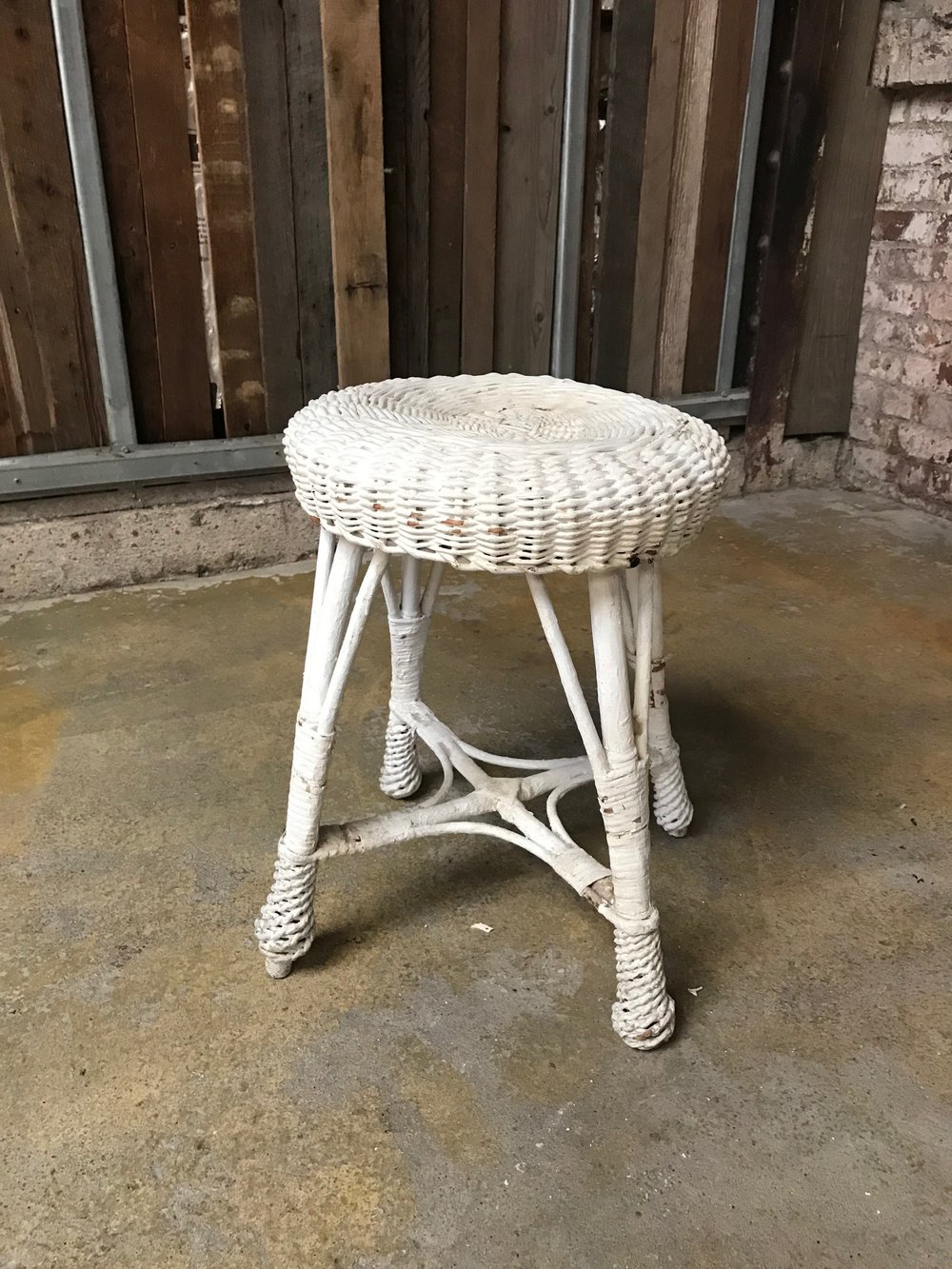WHITE WICKER STOOL $20