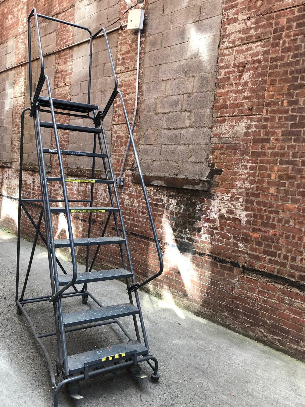 9' rolling ladder - dark $200