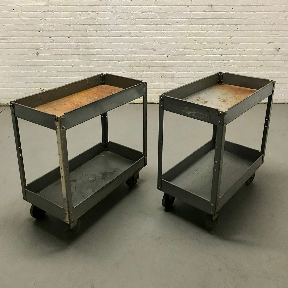 Dark grey Rusted Metal Tool Carts (2) $60/ea